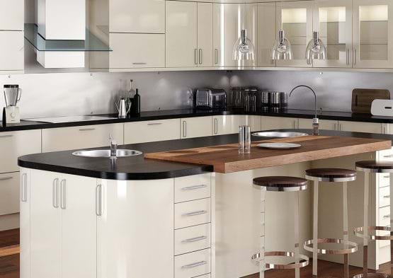 Sheraton Matonella Gloss kitchen with rounded corners in a neutral colour scheme