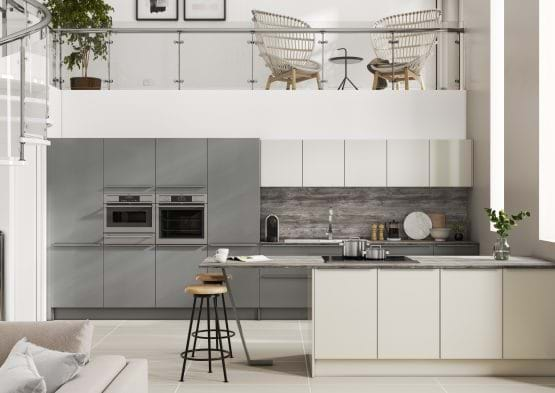 Casa In-line Alta kitchen with two tone cabinets in grey and white for a modern finish