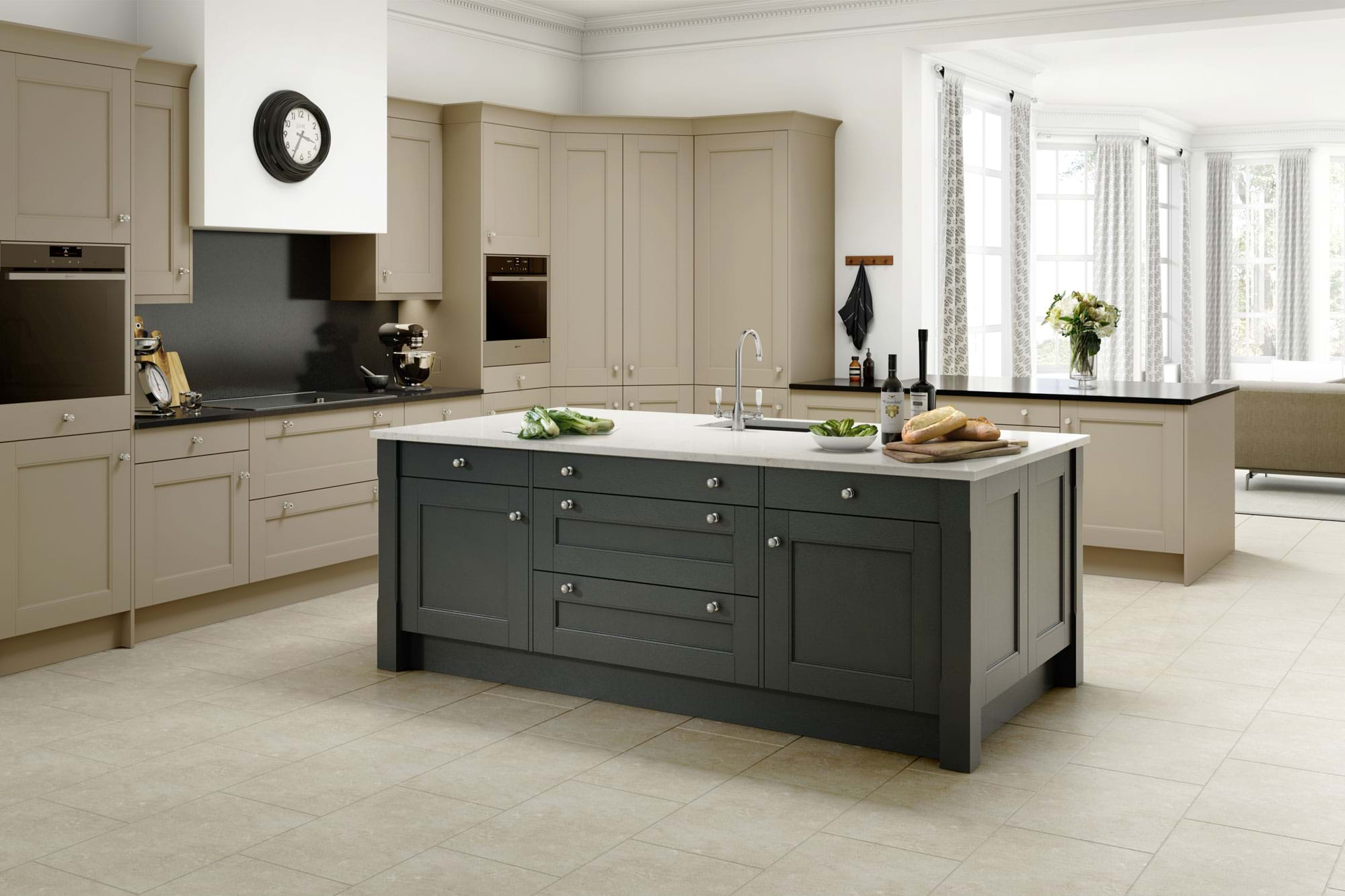Two tone shaker kitchen in grey and white colour scheme with island