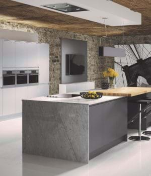 Casa New York kitchen in anthracite grey with matching worktop and handleless cabinets