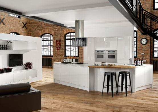 Casa New York high gloss kitchen in white with matching worktop and handleless cabinets