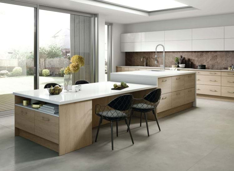 Wood kitchen from the Rotpunk kitchen collection with two tone cabinets in white gloss and matching worktops
