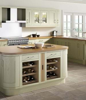 Sheraton Wood Framed painted kitchen in sage green