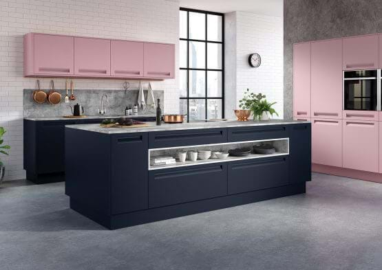Autograph kitchen with two tone pink and grey Sheraton cabinets