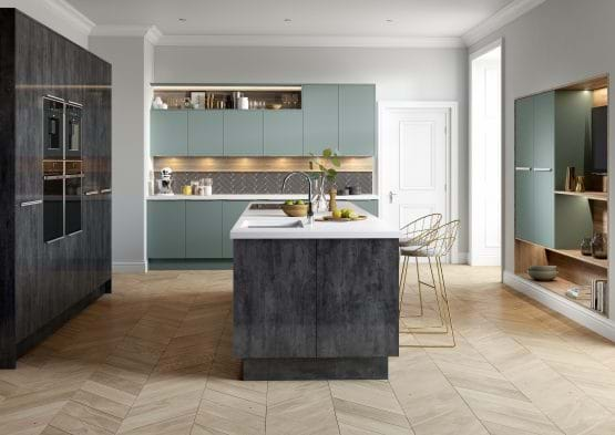 Sheraton Cube Fjord kitchen with metallic finish and handleless cabinets