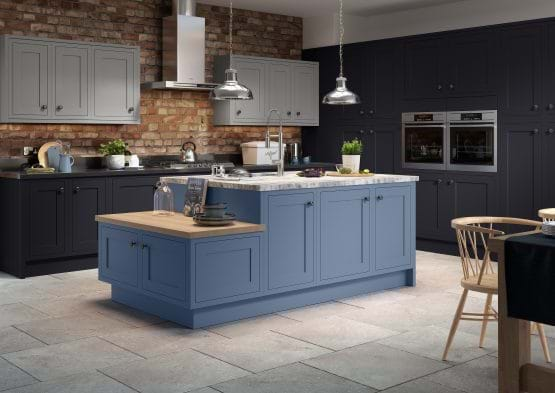 Sheraton Harmony kitchen with painted cabinets in blue and grey and marble worktop