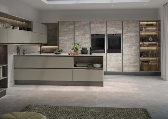 Sheraton Inset Setosa kitchen with glazed grey kitchen cabinets in matt finish
