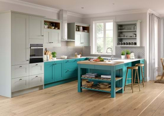 Sheraton Nouveau wooden kitchen with two tone cabinets in grey and teal and butcher block style island