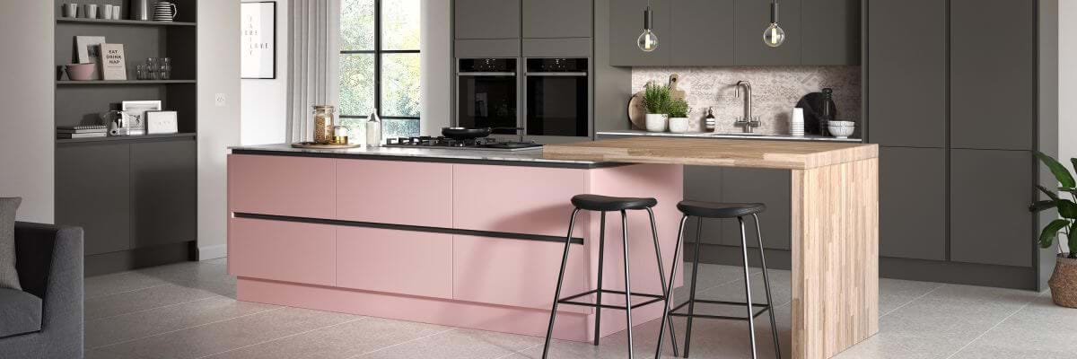 Sheraton Oblique kitchen units with two tone cabinets in pink and grey