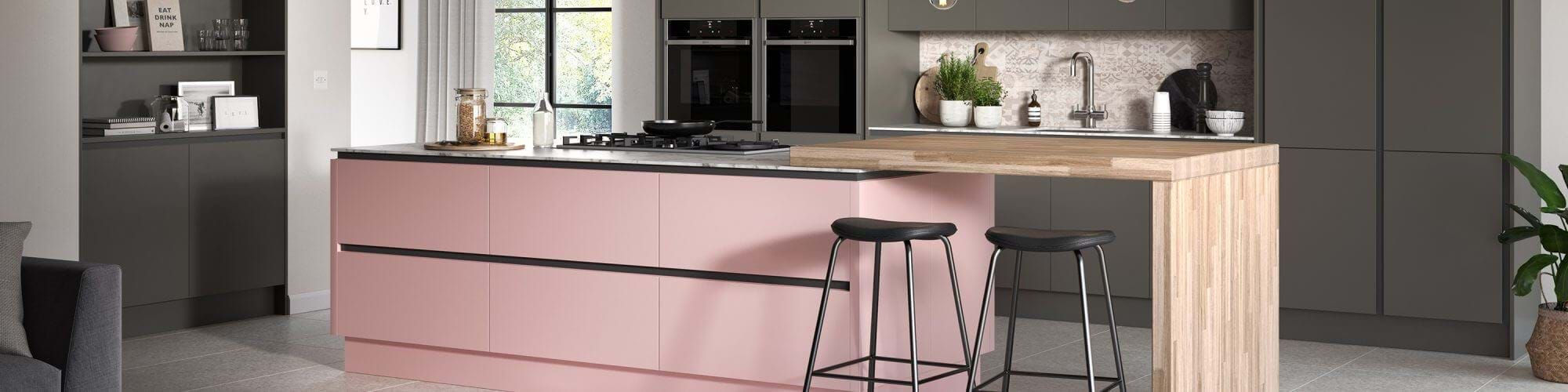 Sheraton Oblique kitchen with pink and grey Sheraton kitchen units and island