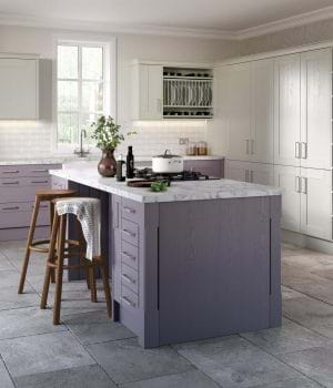 Sheraton Shaker painted in Heather and Limestone kitchen