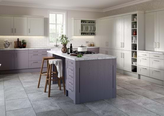 Sheraton Shaker kitchen in heather with island