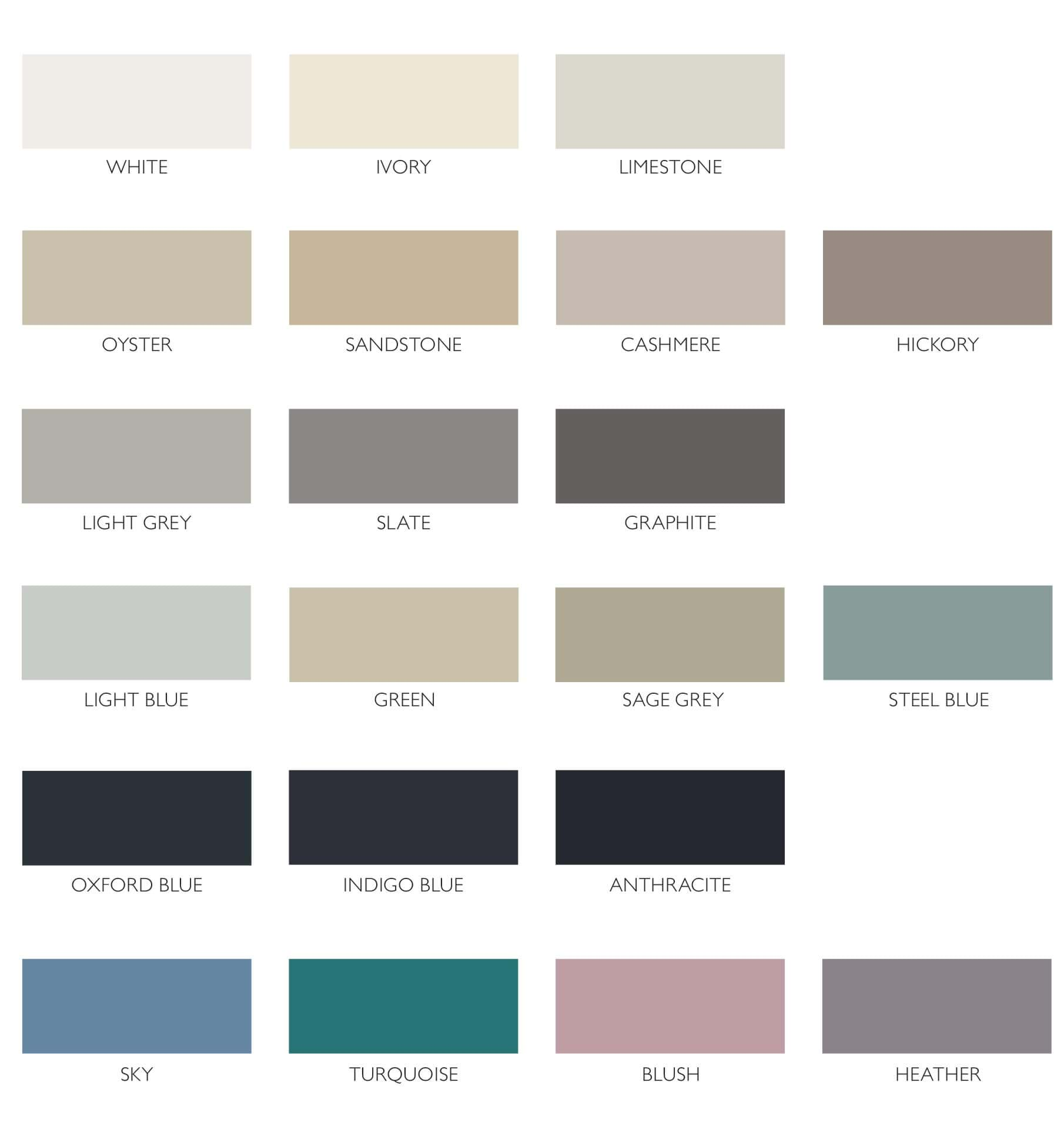 Sheraton colour swatches