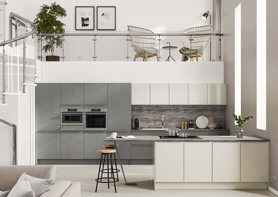 Casa Alta Kitchen with grey and white, handleless cabinets with a glazed matt finish. Featuring a peninsular and breakfast bar