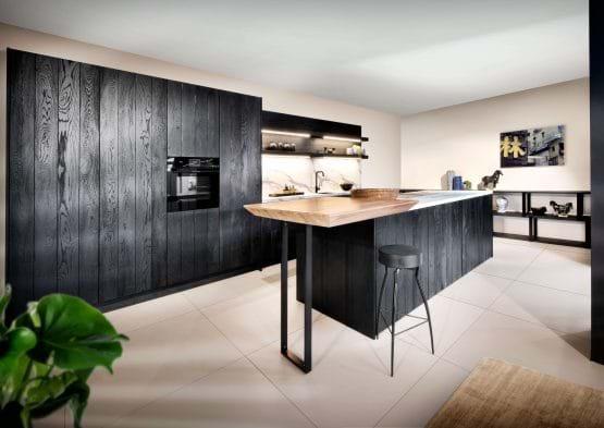 Rotpunkt raw wooden black modern kitchen