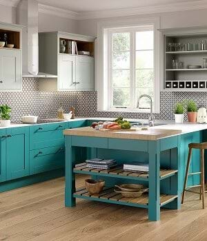 Sheraton Nouveau shaker style kitchen in turquoise