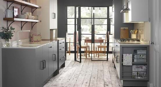 Laura Ashley Richmond kitchen featuring glazed matt finish in grey with built in bookshelf and open shelves