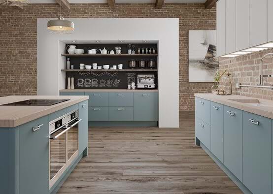 Laura Ashley Richmond kitchen featuring glazed matt finish in grey with island