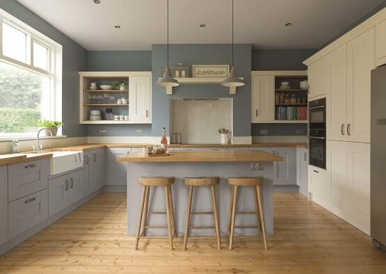 Laura Ashley Whitby Kitchen with blue painted cabinets and wooden worktops
