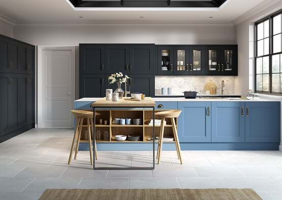 Chippendale Abbey kitchen in blue colour scheme with two tone cabinets in blue and navy.