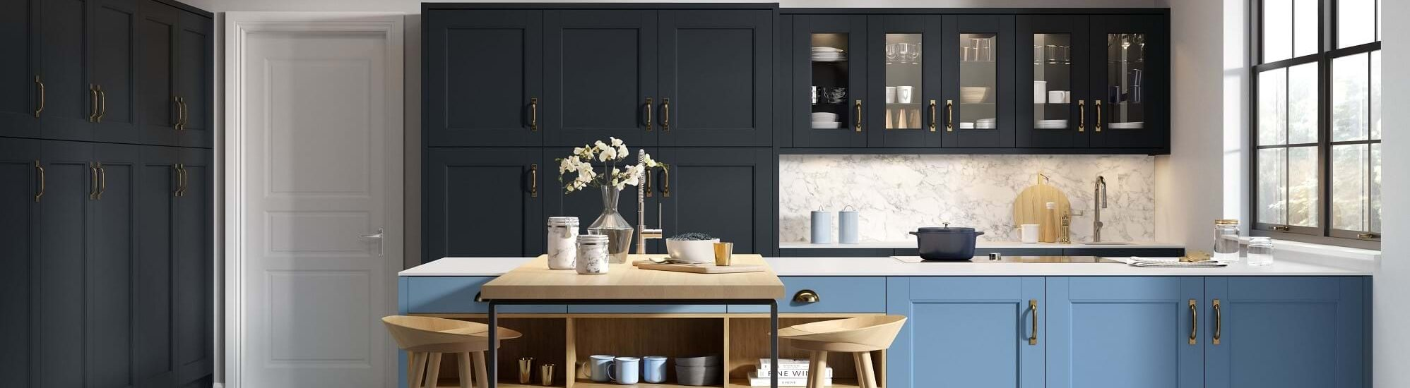 Chippendale kitchen in blue colour scheme with navy and blue kitchen cabinets and wood worktop