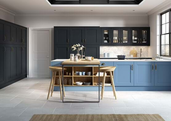 Sheraton Abbey kitchen in Indigo and sky blue colour scheme.