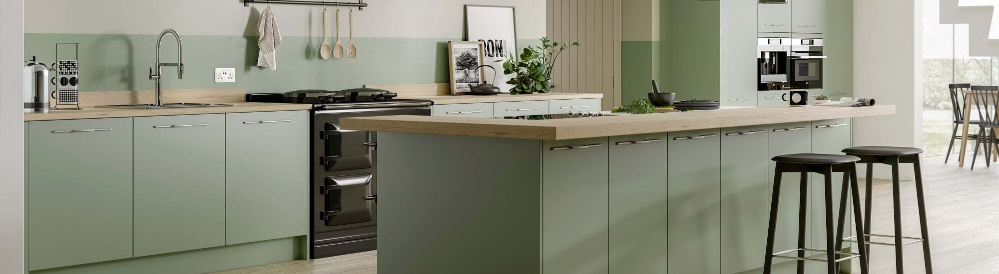 Casa kitchen in Green colour scheme in matt glazed finish