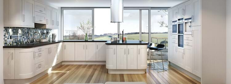 Chippendale Civic gloss kitchen in cream colour scheme with curved cabinets.
