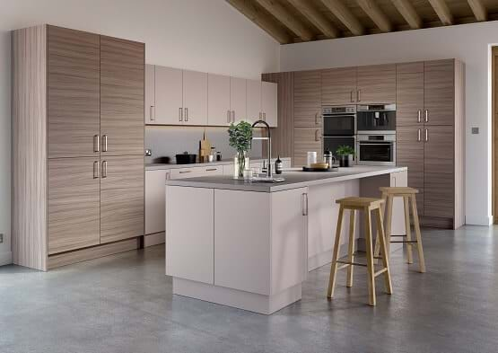 Chippendale Vogue with wood kitchen cabinets and contrasting island