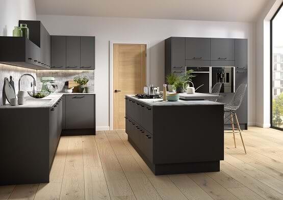 Chippendale Vogue kitchen collection in Graphite. Slab kitchen cabinets finished in matt painted finish in dark colour scheme.