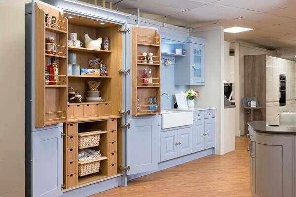 Pale blue kitchen pantry/larder display in Leekes Llantrisant showroom near Cardiff