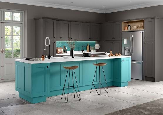 Chipppendale Moda kitchen in bright colour scheme features two tone cabinets in turquoise and grey complete with island.