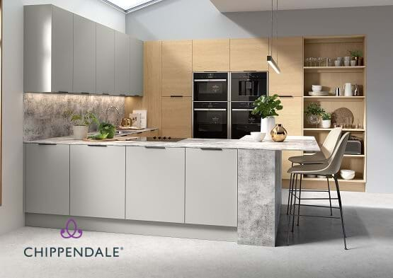 Chippendale Vogue kitchen with wood cabinets and open shelving and contrasting grey island and breakfast bar.