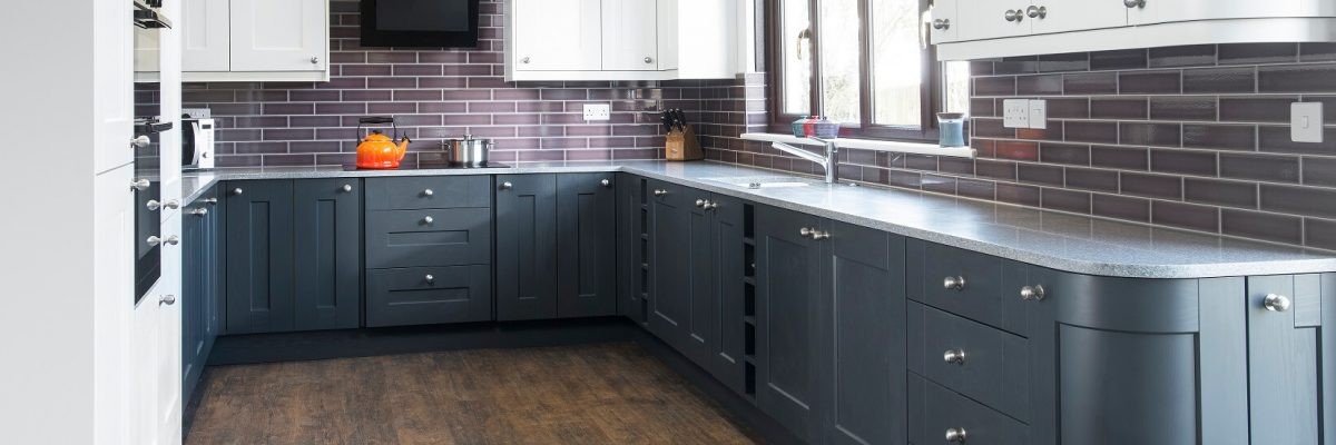 Casa Ashbourne kitchen in two tone colour scheme in grey and white.