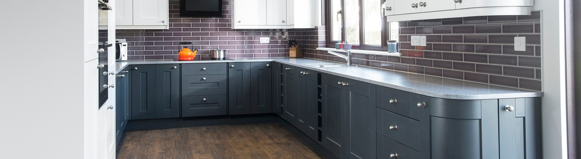 Painted kitchen in grey and white colour scheme