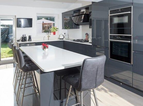 Modern Sheraton kitchen in grey gloss finish