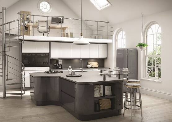 Chippendale Uno gloss kitchen in grey and white colour scheme