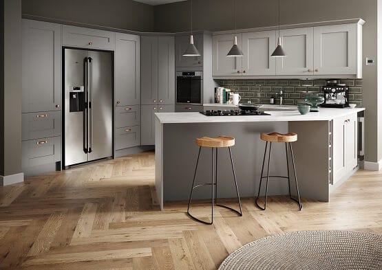 Casa Cranbrook shaker kitchen in grey colour scheme with breakfast bar