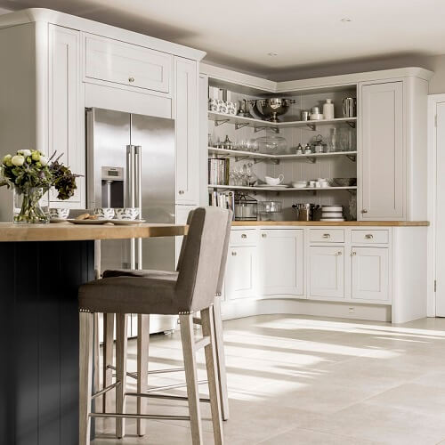 Laura Ashley Harwood kitchen with open shelving