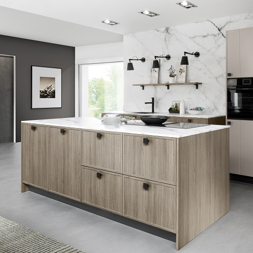 Wood kitchen in washed oak finish with island from Rotpunkt