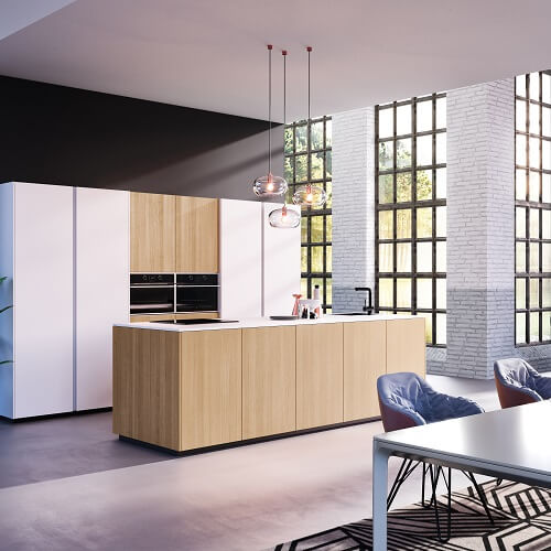 Rotpunkt kitchen with two tone cabinets in white and wood effect