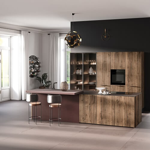 Wooden Rotpunkt kitchen with open shelving and integrated appliances