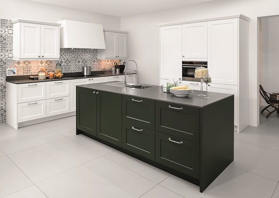 Rotpunkt Ergo shaker kitchen in green and white colour scheme with island