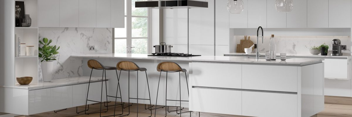 Modern gloss kitchen in white colour scheme