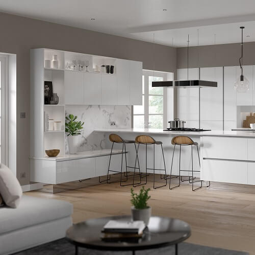 White gloss open plan kitchen / lounge with breakfast var areas and open shelves