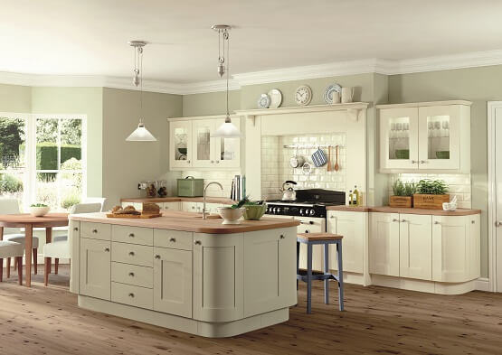 Casa Rockfort kitchen in neutral colour scheme with wood worktops