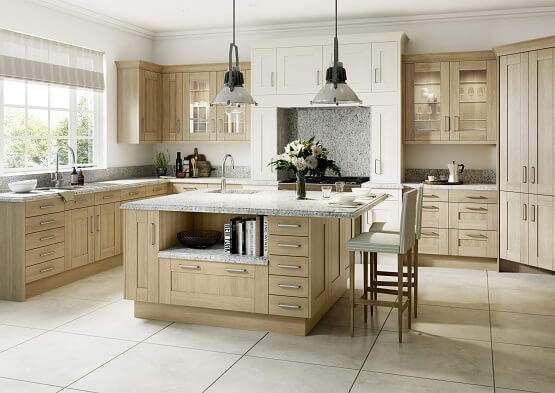 Sheraton Sand Oak traditional shaker kitchen in light oak colour