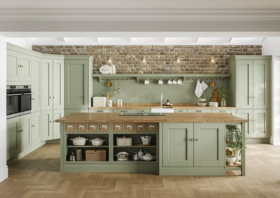 Laura Ashley whitby traditional kitchen in green colour scheme with wood throughout