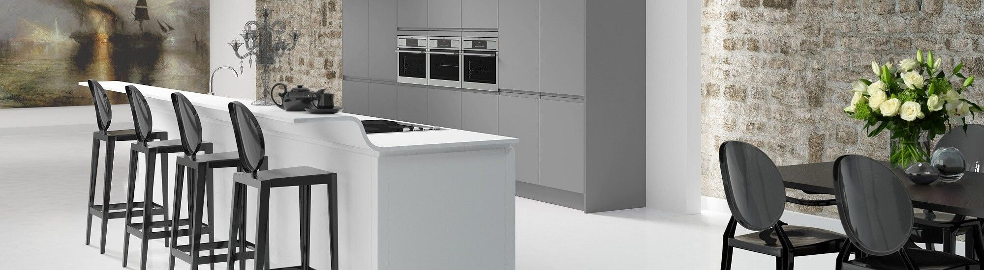 Shaker manor house kitchen in white and grey colour scheme