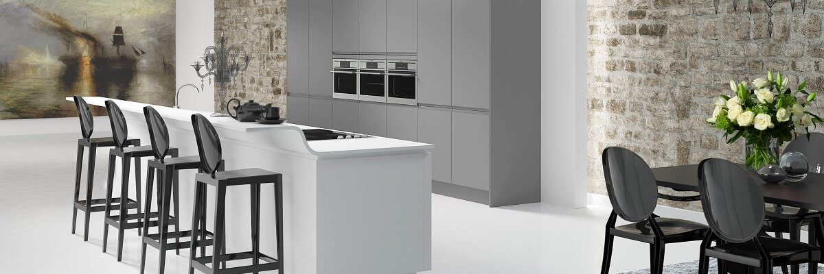 Grey and white shaker style kitchen